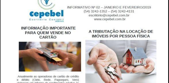 Informativo Cepebel nº 02 – Janeiro e Fevereiro/2019