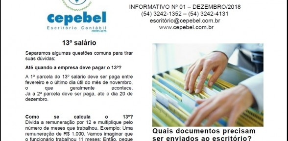 Informativo Cepebel nº 01 – Dezembro de 2018