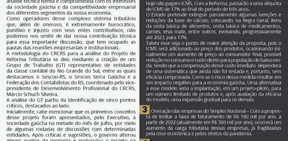 Manifestação da classe contábil em relação à Reforma Tributária proposta pelo governo do RS